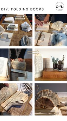 DIY Folding Books via Objects & Use Old Book Crafts, Book Page Crafts, Book Page Art, Folded Book Art, Paper Book, Paper Art, Paper Crafts, Cut Paper, Origami