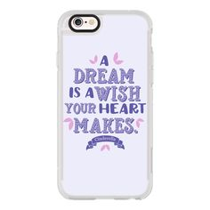 Cinderella - A Dream is a Wish your Heart Makes - Purple - iPhone 6s... (150 ILS) ❤ liked on Polyvore featuring accessories, tech accessories, phone cases, iphone case, apple iphone cases, purple iphone case, iphone hard case, iphone cover case and clear iphone cases
