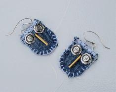 Denim Earrings Robot Fun Face Handmade Fabric Earrings Unique Jeans Art Craft #Handmade #Wrap