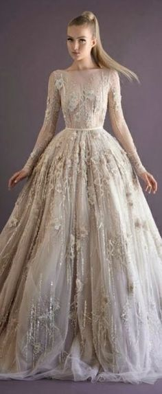 Long-sleeve, full-length ball gown in ivory with floral and beading detailing! GORGEOUS! ~ Paolo Sebastian Couture Collection A/W 2014