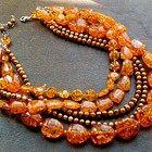 Bead Lover's Torsade - No12/Pressed Amber, Freshwater Pearls, Sterling