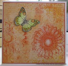 I made a couple of cards using my Gelli plate papers (original post is here). I didn't want to lose some of the lovely detail on the papers, so made the focal point small compared to the rest of the card. The papers were made with my gelli plate and Chocolate Baroque sunny sunflowers. I added a bit of dried Marigold DI as well.