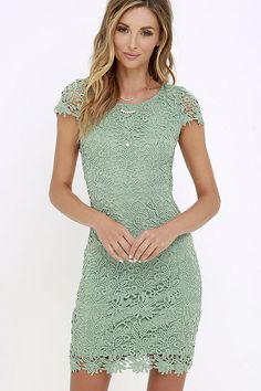 We admire any girl who can put together a great outfit, but honestly, the Hidden Talent Backless Sage Green Lace Dress makes it easy! This beautiful bodycon dress has sheer cap sleeves and a backless design (with top button). Hidden back zipper/hook clasp.