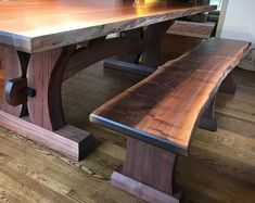 Walnut live edge trestle table and bench | Etsy Bench Table And Chairs, Deck Table, Dinning Room Tables, Slab Table, Dining Table In Kitchen, Wood Table, Table Desk, Dining Bench, Rustic Wood Furniture