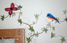 Easily extend a framed painting with handpainted elements - Atop Serenity Hill Vine Design, Wall Design, Garden Items, Wonderful Picture, Block Wall, Flowering Vines, Flower Wall, Blue Bird, Painting Frames