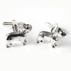 French bulldog cufflinks done in Sterling Silver. on Etsy, $127.88