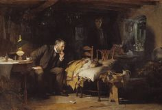 The tableau — ailing child, concerned parent and intrigued physician — in this late century oil painting The Doctor by artist Sir Luke Fildes. Tate Gallery, Old Paintings, Classic Paintings, Mary Cassatt, Art History, Les Oeuvres, Oil On Canvas, Survival, Fine Art