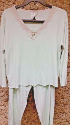 ade26939382 Classic Element ladies soft aqua w lace trim size Med. pajama set only   10.50