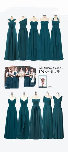 Bridesmaid dresses - Ink blue is an obvious color,you can always catch others' eyes with our ink blue dresses, and whether long or short ink blue bridesmaid gowns are for sale bridesmaid bridesmaids inkblue wedding Blue Bridesmaid Gowns, Bridesmaid Dress Styles, Wedding Bridesmaids, Multiway Bridesmaid Dress, Bridesmaids Nails, Teal Dress For Wedding, Wedding Gowns, Wedding Blue, Summer Wedding