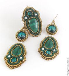 """Купить Комплект """"Малахитница"""" - авторские украшения, украшения, комплект украшений, комплект, перстень, кольцо"""