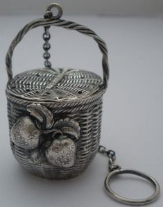 Remarkable sterling silver tea ball in a  woven picnic basket design with applied strawberry motif - made by Pryor Manufacturing Co, c1915 (vincentcallahan)