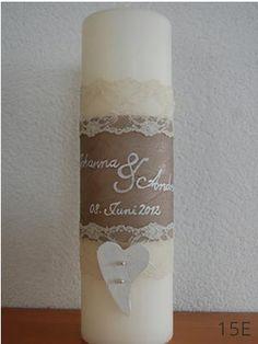 Hochzeitskerze Vintage mit Spitze