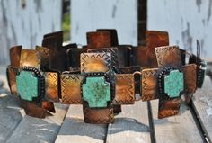 Copper Concho Belt with Green Turquoise Crosses
