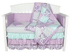 Purple Crib Bedding, Zoe Floral Patchwork Baby Bedding Set by The Peanut Shell