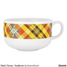 Plaid / Tartan - 'Sunflower' Soup Mug #gifts #giftideas #yellow #plaid #tartan #soup #zazzle