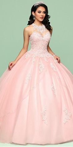 Fashionable Tulle Jewel Neckline Ball Gown Quinceanera Dress With Beaded Lace Appliques
