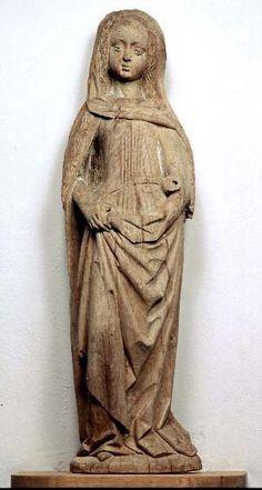 Female saint. Småland, Hannäs. Regional workshop. Second half of the 15th century. Note pleats similar to Housebook Dress