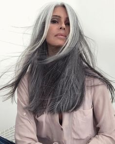 Haircut Ideas For Grey And Silver Hair - Hair - Long Gray Hair, Silver Grey Hair, Gray Hair Women, Grey Hair Over 50, Grey Hair Styles For Women, Grey White Hair, Black Women, Grey Hair Inspiration, Gray Hair Highlights