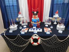 The amazing Nautical Theme Party For Bas First Birthday Tips And Throughout Awesome Nautical Birthday Party images below, is section More! Anchor Birthday, Sailor Birthday, Sailor Party, Mickey Birthday, Baby First Birthday, Sailor Theme, Cruise Theme Parties, Cruise Party, Nautical Party Centerpieces