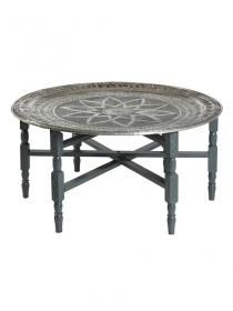 Have one of these need another one! Round Moroccan tray table, gray. A beautiful morrocan style table, with wooden legs and a carved silver surface.