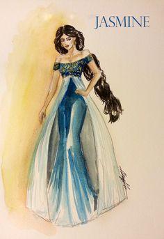 "Princess Jasmine, ""Aladdin."" Watercolor, Fashion Illustration."