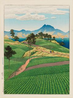Kawase Hasui (Japanese, 1883–1957) The Onsen Range Seen from Amakusa (Amakusa yori mitaru Onsengadake), from the series Selected Views of Japan (Nihon fûkei senshû) | Museum of Fine Arts, Boston