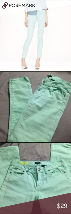 """J. Crew Toothpick jeans Mint green and perfect for spring! J. Crew toothpick ankle jeans with stretch. Size 26/2. Inseam is 26 1/2"""". Very good, nearly new condition. I discount bundles! J. Crew Jeans Skinny"""