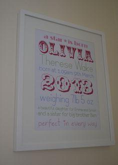 DIY new baby word art print