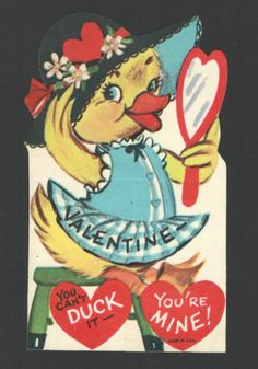 Vintage Childs Valentine's Day Card Duck Big Hat Heart Mirror You Can'T Duck It | eBay