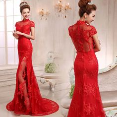 Material: Red sequins lace and gauze. Details: Mandarin collar mermaid trailing party dress with high front slit at the front underneath the outer lace; cap sleeve transparent back red Chinese lac...
