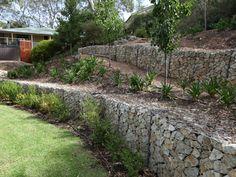 Stepped sandstone Gabion retaining wall
