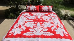 Hawaiian Hibiscus Quilt King Size Batik (Hand Dyed) with Shams - Palama Style