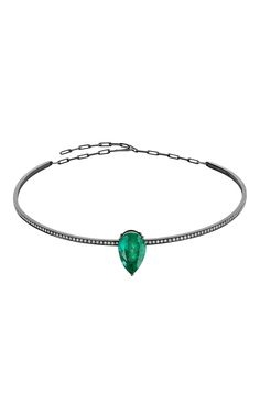 18 K White Gold And Black Rhodium Emerald Choker by JACK VARTANIAN for Preorder on Moda Operandi