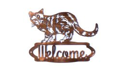 Tabby Cat Welcome Sign CAN BE CUSTOMIZED