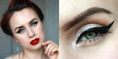 vintage inspired makeup look eyeliner red lips Bronzer, Red Lips, Matcha, Makeup Inspiration, Septum Ring, Vintage Inspired, Eyeliner, Makeup Looks, Bloom