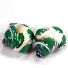 Green And Ivory Swirl Sea Shell Handmade Lampwork Glass Bead Pair SRA