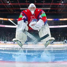 Is this KHL goalie dancing the polka on the ice?