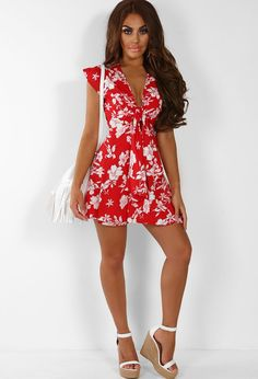 Hot List Red Floral Print Tie Front Wrap Mini Dress  b7175bd66