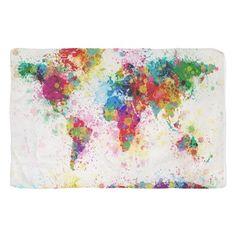 World Map Paint Splashes Scarf on CafePress.com