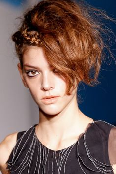 Headband (Tiara) #braid & Side Bangs #Hair #Style #Trend for Spring Summer 2013.  Paola Frani Spring Summer 2013.