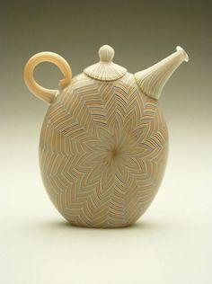 "Richard Marquis  Oculare Teapot, 2003  Blown Glass  7.5 x 7"" x 2"""