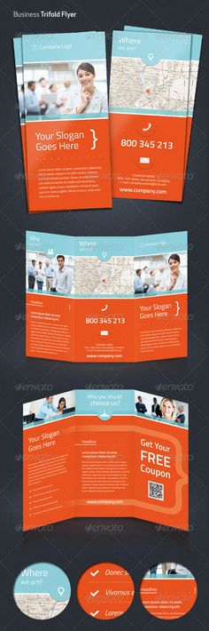 Business Trifold Flyer  #GraphicRiver         Clean and modern business flyer template.    CMYK, 300dpi, print ready  3mm bleeds  trifold (A4 to 99×210mm)  icons included  photos and font are NOT included – links provided in help file      Created: 17April13 GraphicsFilesIncluded: PhotoshopPSD Layered: Yes MinimumAdobeCSVersion: CS3 PrintDimensions: 99x210 Tags: blue #brochure #business #clean #company #corporate #multipurpose #orange #socialmedia #trifold