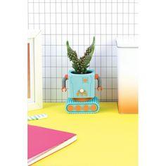 DOIY Bloempot Robot - Blauw gadgets, kado's en originele cadeau - € 16,50
