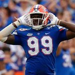 University of Florida Gators defensive lineman Jachai Polite motions to the crowd to get loud during the second half as the Florida Gators defeat tne Tennessee Volunteers 26-20 at Ben Hill Griffin Stadium in Gainesville, Florida. September 16th, 2017.  Gator Country photo by David Bowie.