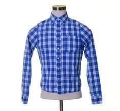 """HOLLISTER Bright Blue White Plaid Squares Cotton Button Bird Logo Shirt 40"""" M #Hollister #ButtonFront"""