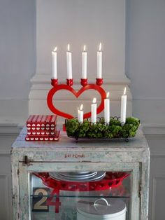 Adventsljusstake - Swedish Christmas Candleholder, light one new candle for each Sunday in advent (as a countdown), creating the stairstep look.