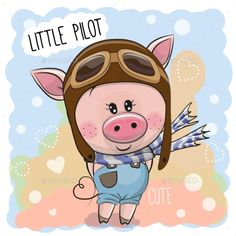 Cute Pig in a Pilot Hat - Photoshop PSD, Vector EPS