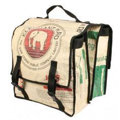 £30 Bike pannier bag recycled sacks elephant design