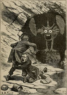 Phantasmagoria illustration by Arthur B. Frost for Lewis Carroll's Rhyme? and Reason?, 1888