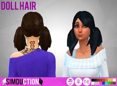 Doll Hair by Simduction   New hair for females, is a ts3 to ts4 conversion of the hair that comes with Midnight Hollow.Comes in 18 colours, hat compatible. Feel free to recolour!   TOU: Don't claim as your own, don't reupload and if you do recolors do not include the mesh.   Enjoy!  DOWNLOAD   If you like my custom content, you are welcome to donate in my PayPal, my mail is borreyagamy@gmail.com